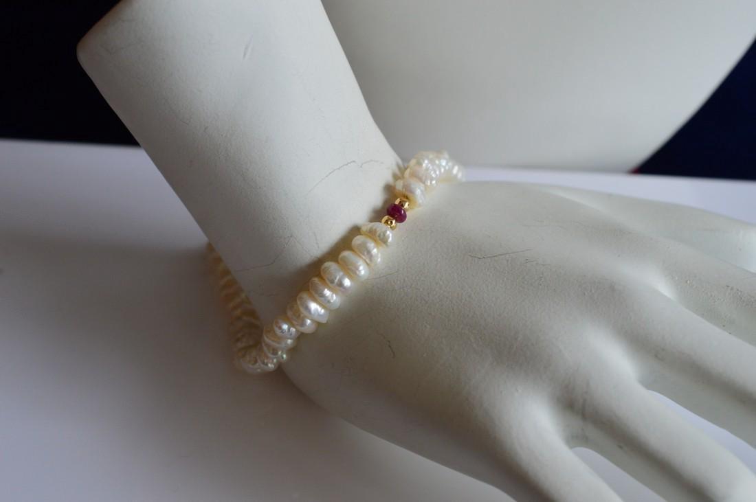 Ladies 14K Gold Blister Pearl Necklace Bracelet Set - 3