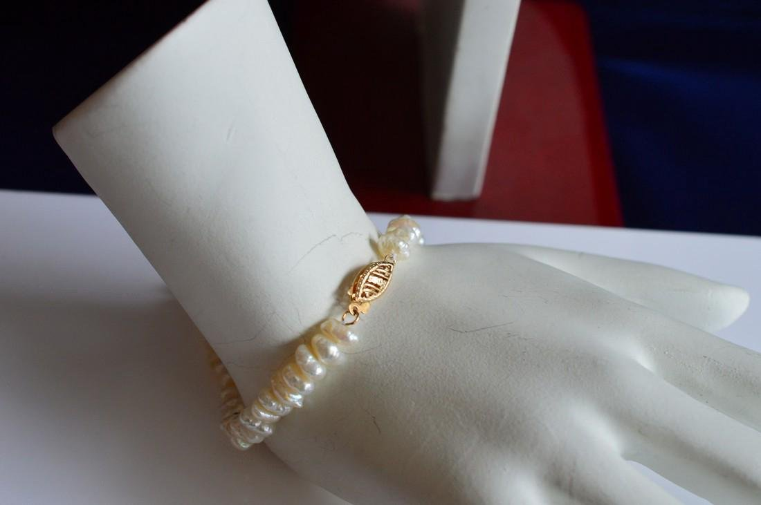 Ladies 14K Gold Blister Pearl Necklace Bracelet Set - 5