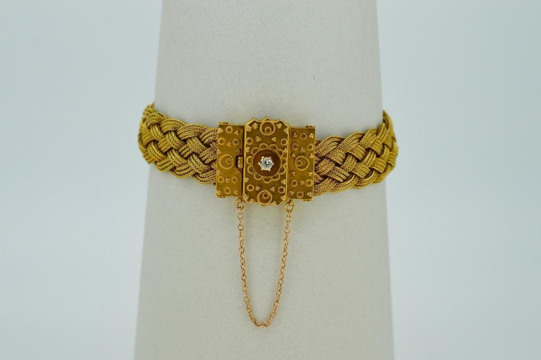 Antique Ladies 14k Yellow Gold Diamond Woven Bracelet