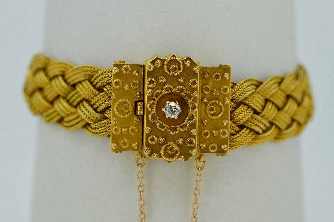 Antique Ladies 14k Yellow Gold Diamond Woven Bracelet - 2