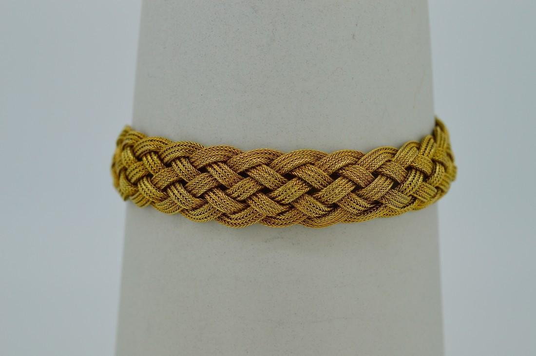 Antique Ladies 14k Yellow Gold Diamond Woven Bracelet - 3