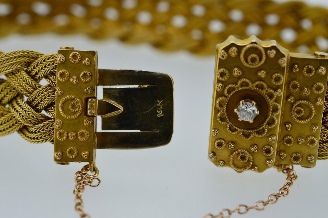 Antique Ladies 14k Yellow Gold Diamond Woven Bracelet - 4