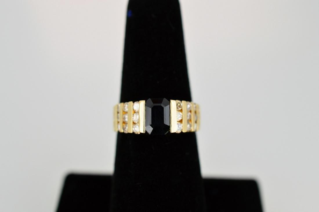 Ladies 14k Yellow Gold Sapphire Diamond Ring, 1.75ct