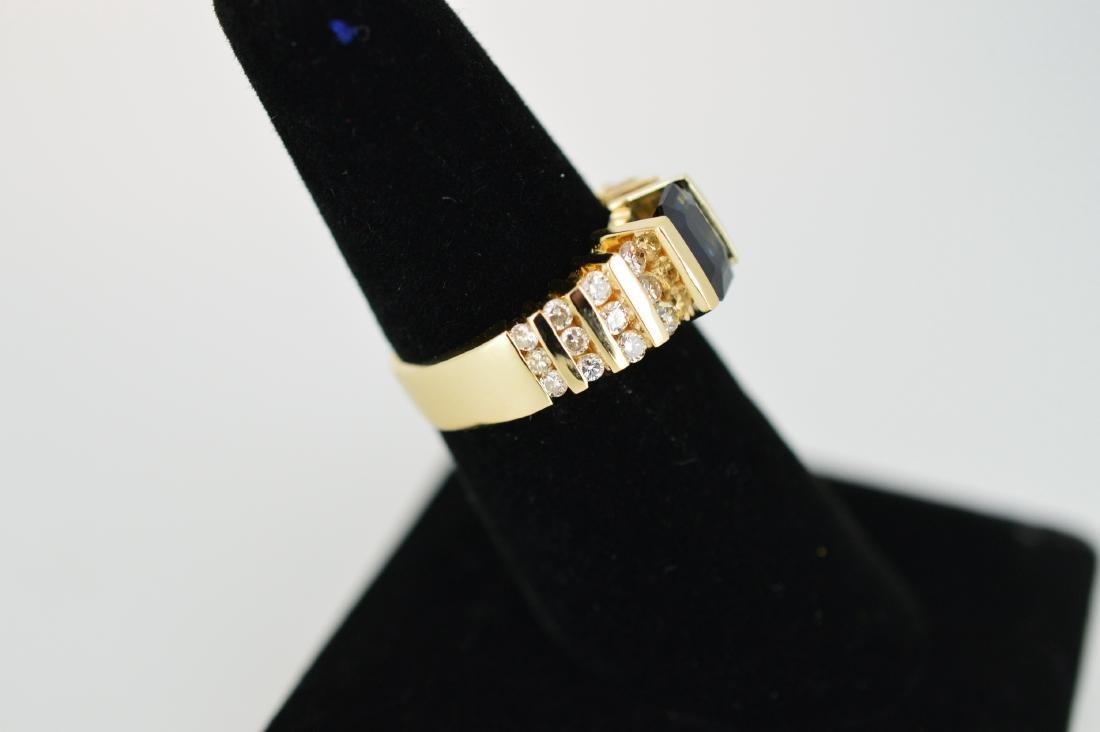 Ladies 14k Yellow Gold Sapphire Diamond Ring, 1.75ct - 2