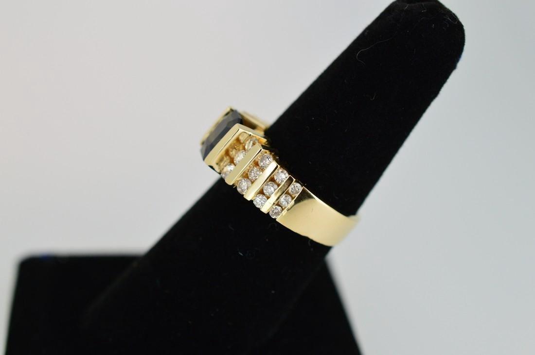 Ladies 14k Yellow Gold Sapphire Diamond Ring, 1.75ct - 3