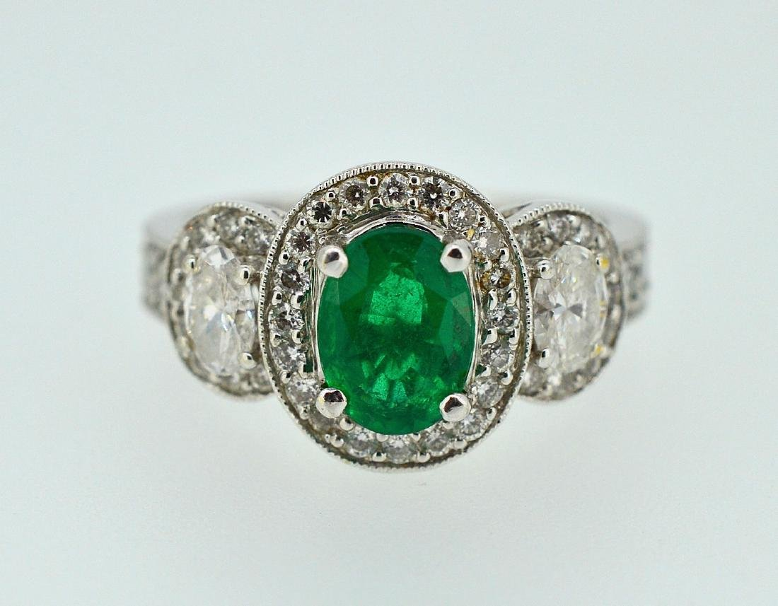 18k White Gold Diamond Natural Emerald Ring, 2ctw