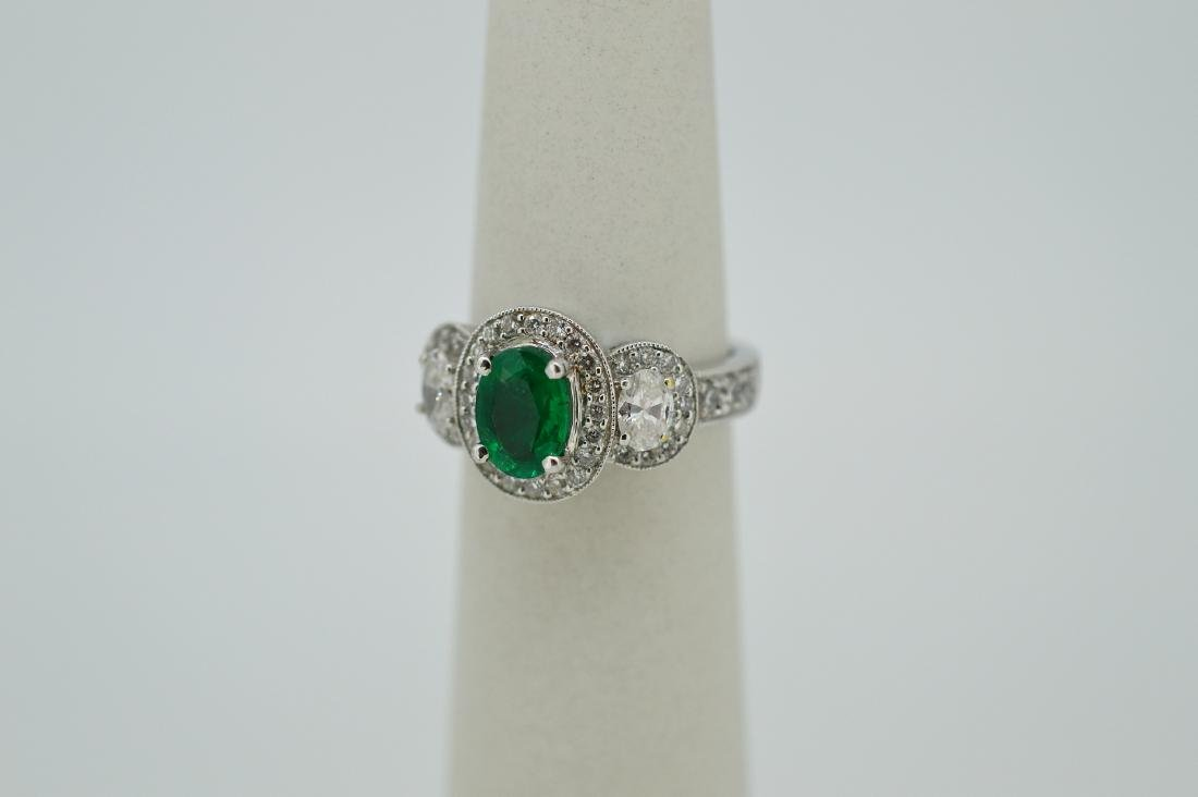 18k White Gold Diamond Natural Emerald Ring, 2ctw - 2