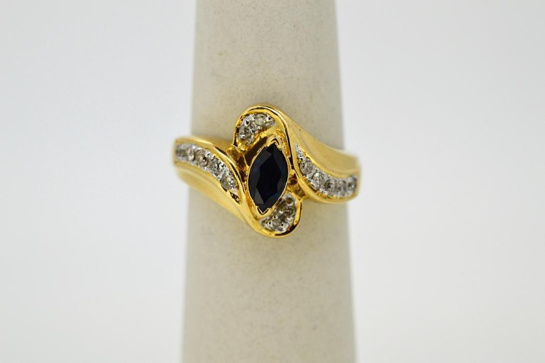 Ladies 14k White Gold Sapphire Diamond Ring, .29ctw