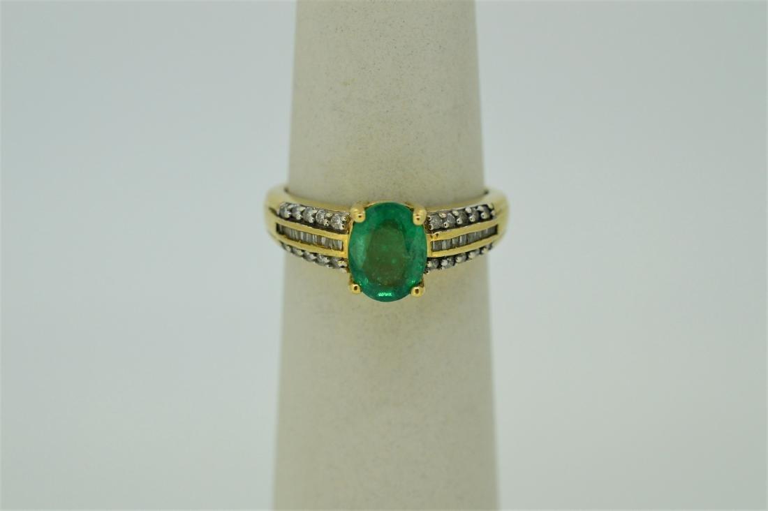 Ladies 14k White Gold Peridot Diamond Ring