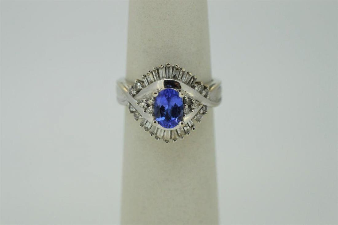 Ladies 14k White Gold Amethyst Diamond Ring