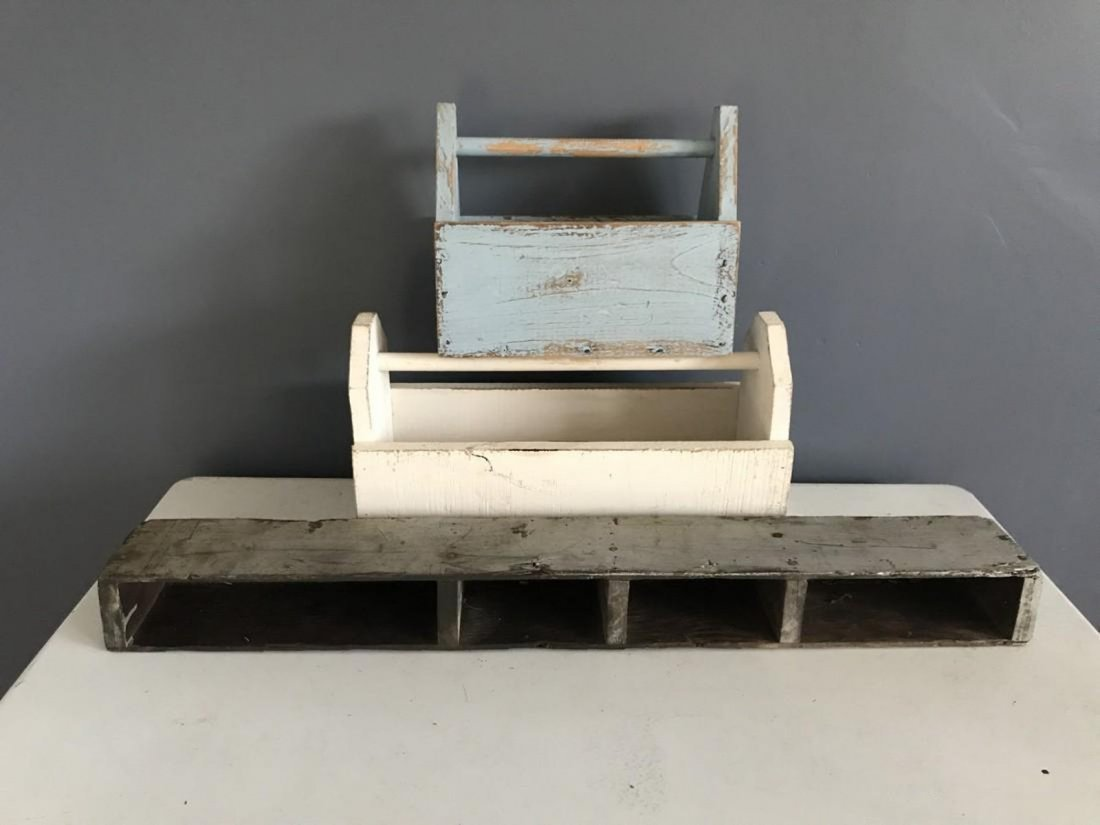 Blue Tool Box, White Tool Box, & Tool Box Shelf