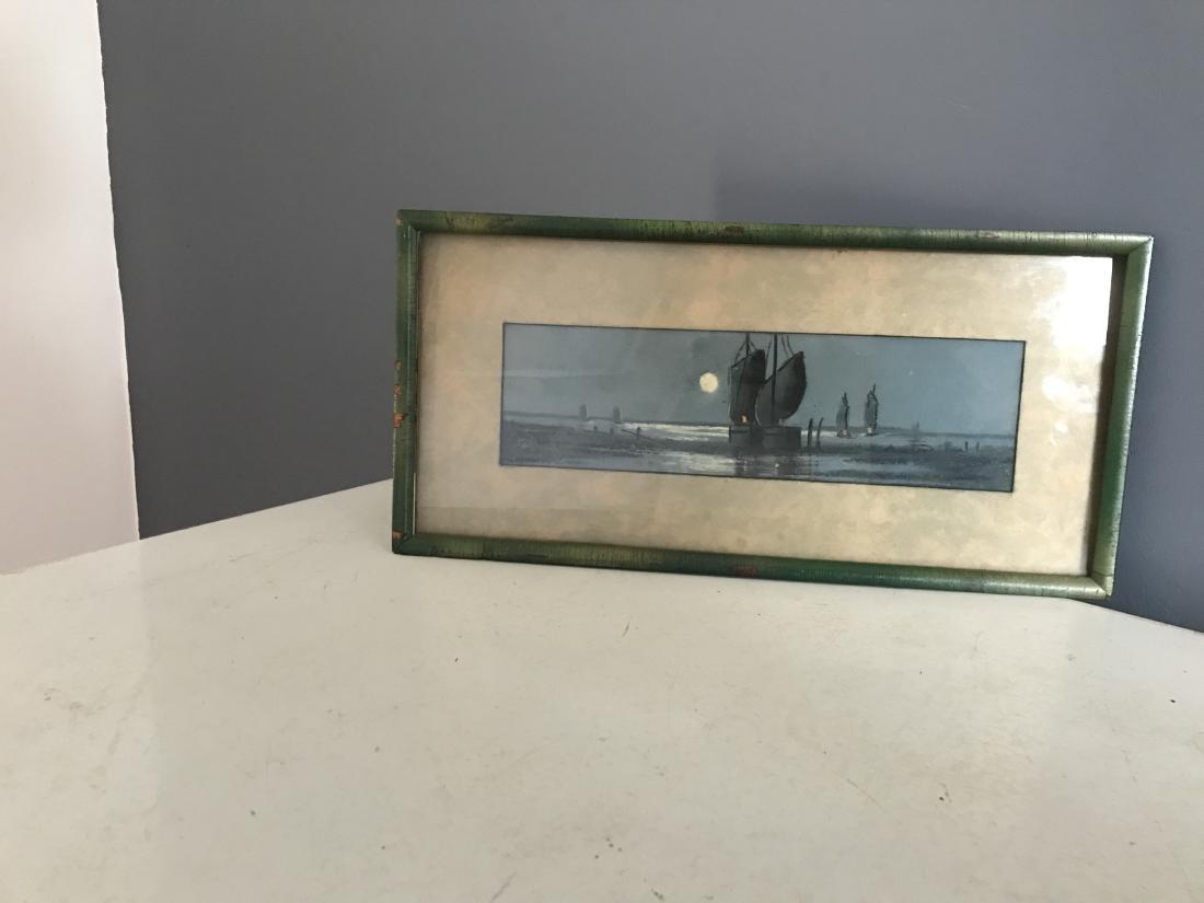 Circa 1940's Watercolor Sailboat Painting Framed