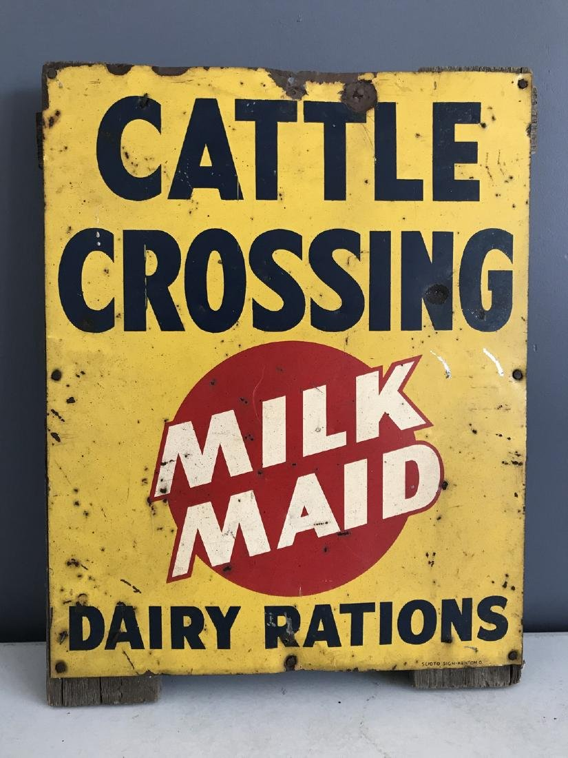 Milk Maid Cattle Crossing Dairy Rations Metal Sign