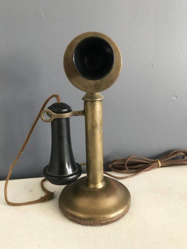 Kellogg Brass Candlestick Phone - 4