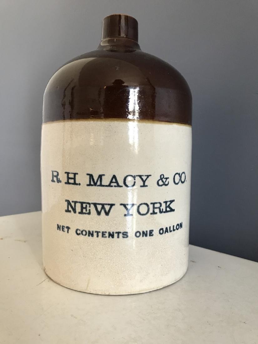 Rare Stoneware R.H. Macy & Co., NY Store Liquor Jug
