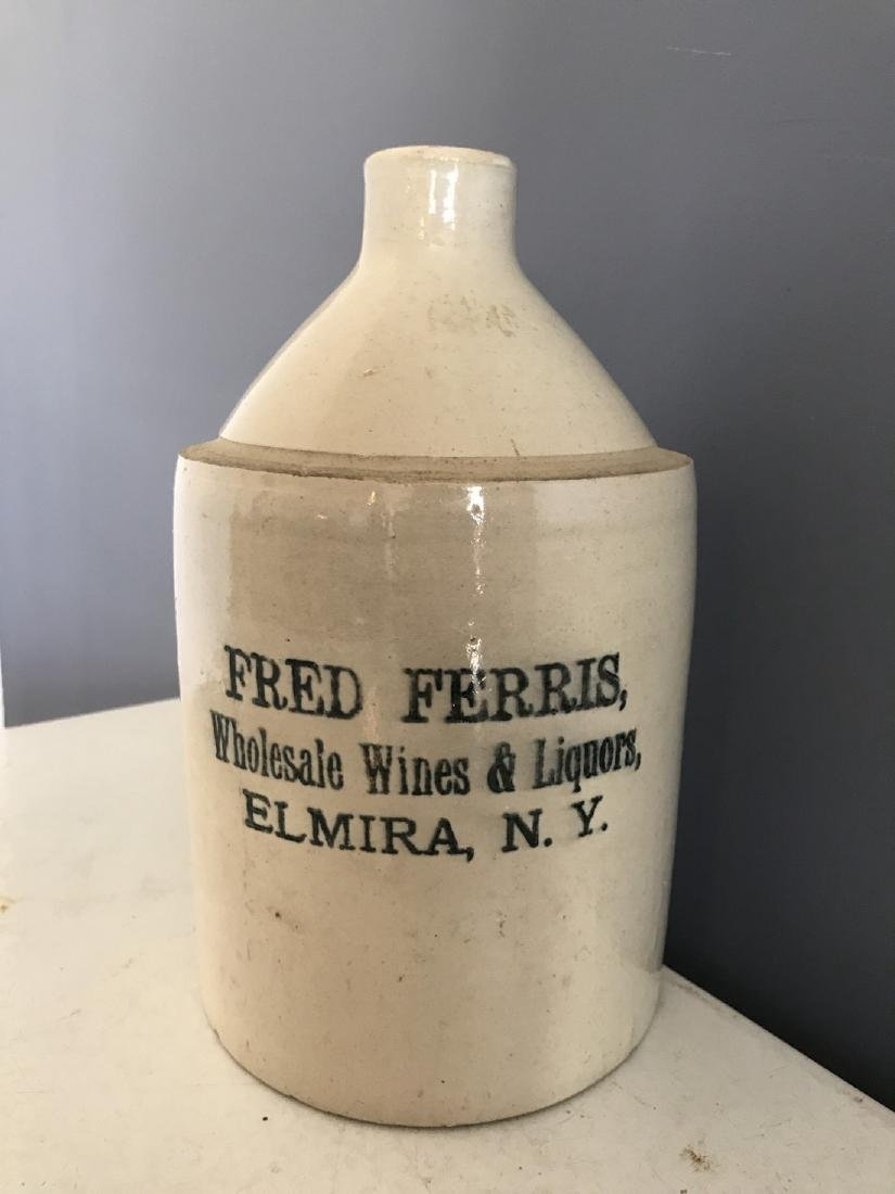 Stoneware Fred Ferris, Elmira NY Whisky Jug