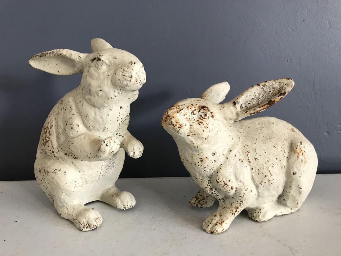 Pair of Antique Cast Iron Garden Bunny Rabbits