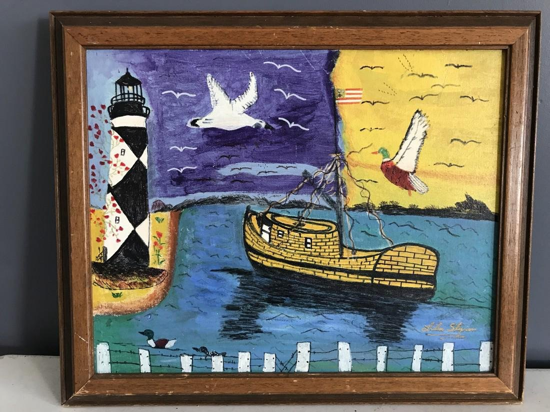 Folk Art Coastal Diamond City Framed Painting, Signed