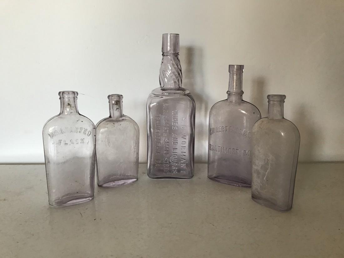 Lot of 5 Flint Glass Liquor Bottles