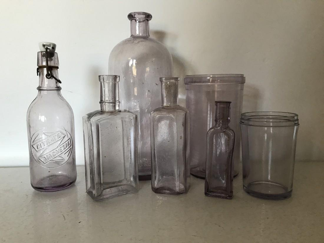 Lot of 5 Flint Glass Pharmacy, Lab & Medicinal Bottles