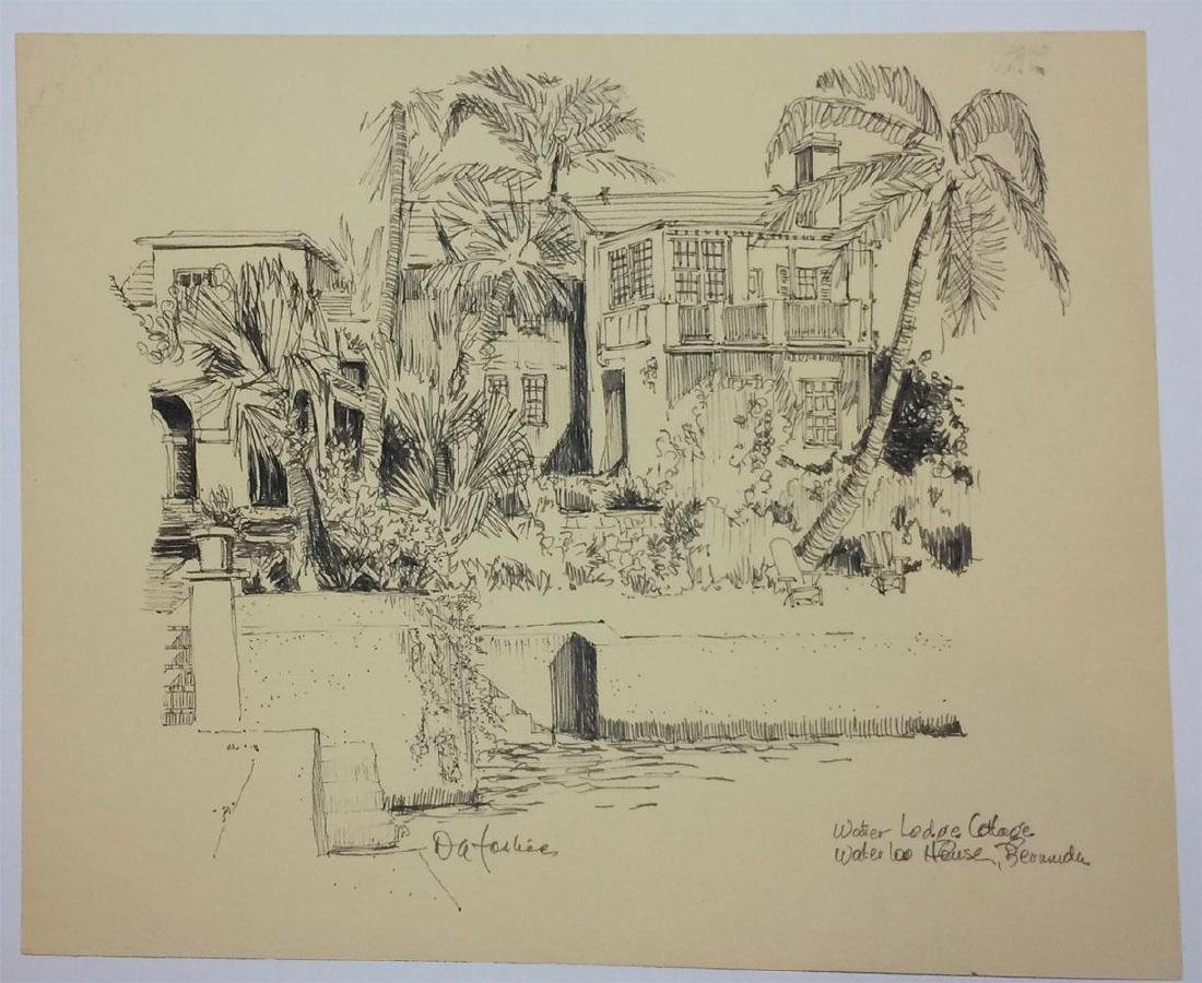 Original Drawing Water Lodge Cottage Waterloo Bermuda