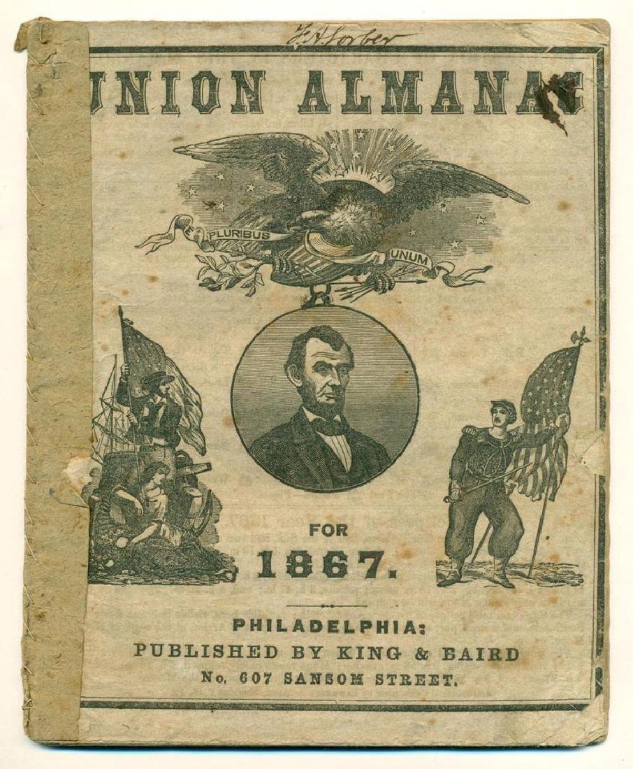 1867 Union Almanac King Baird Philadelphia Patriotic