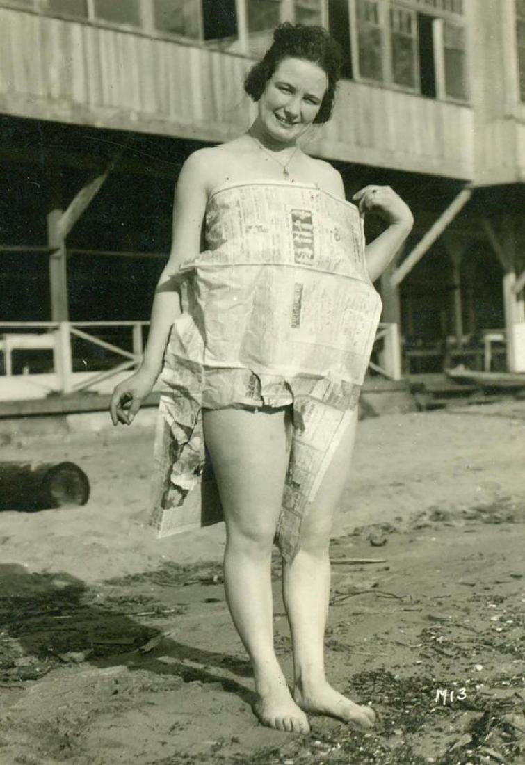 Vintage 1920 Bizarre Happy Lady Newspaper Dress