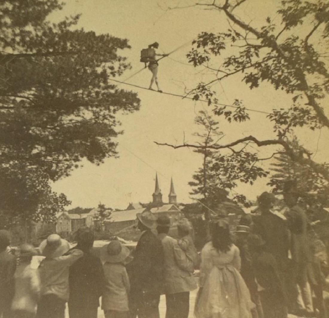 Rare 1872 Tightrope Walker Charles Hilton Stove on Back