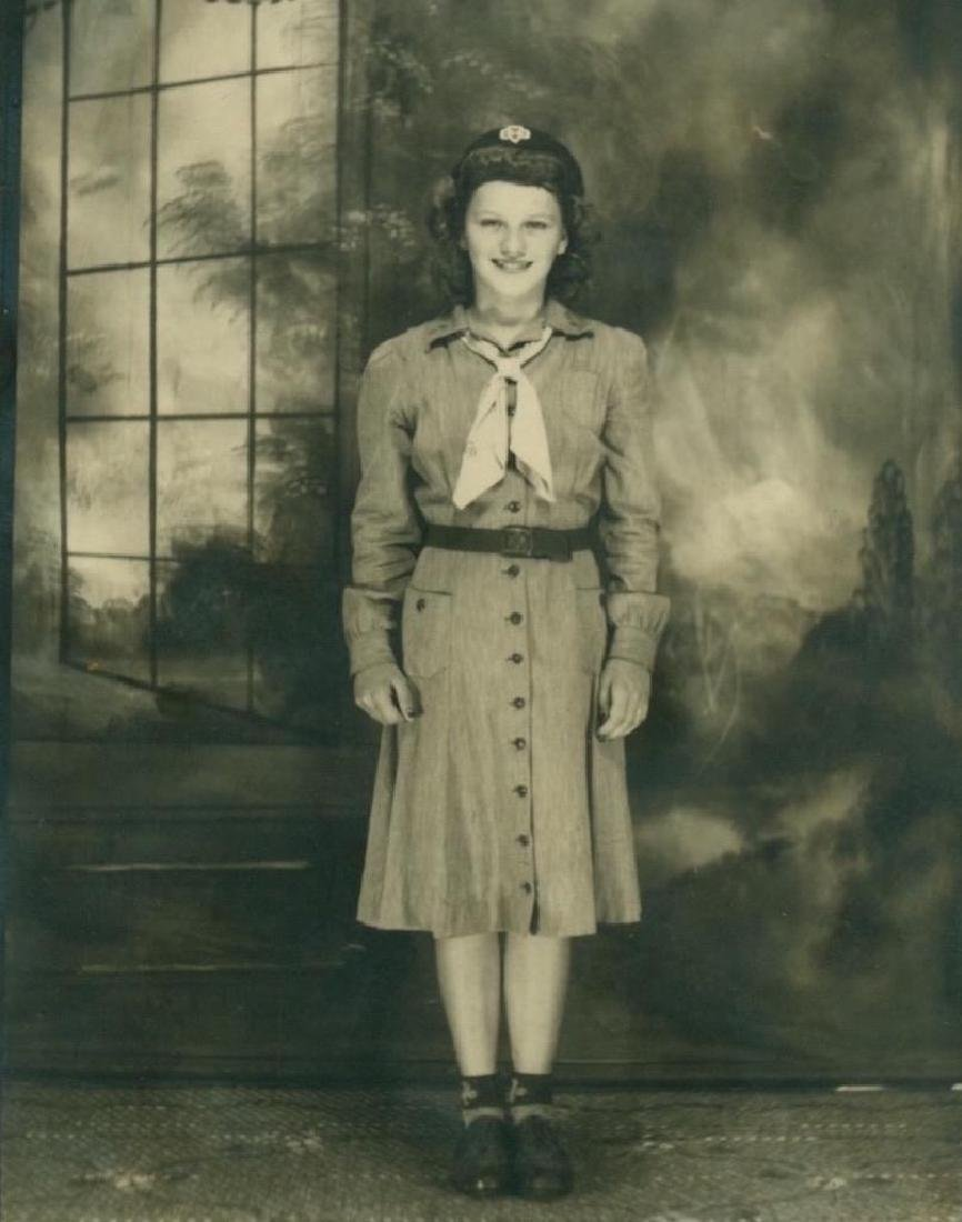 1940 Vintage Snapshot Photograph Girl Scout in Uniform