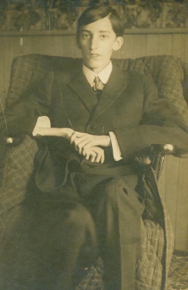 1900 Young Emaciated Man Sick Blanket Covered Chair