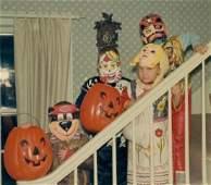 1970 Vintage Halloween Color Snapshot Kids in Costume
