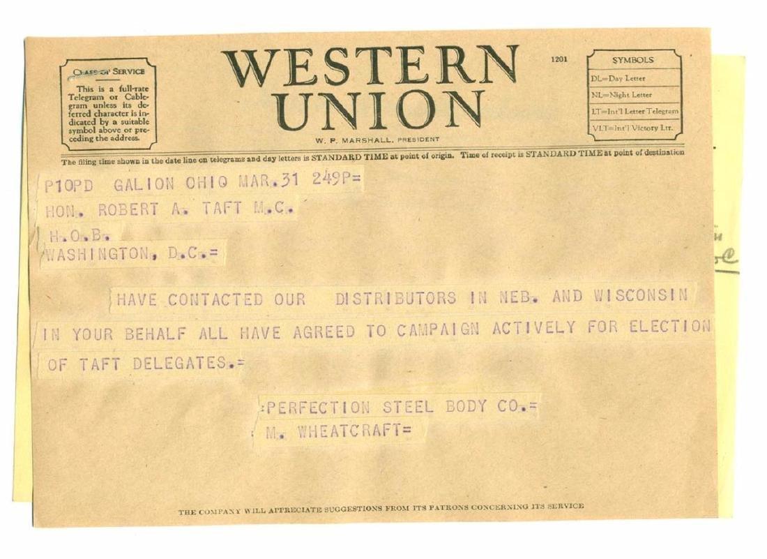 Vintage Election Telegram Robert Taft Campaign Support