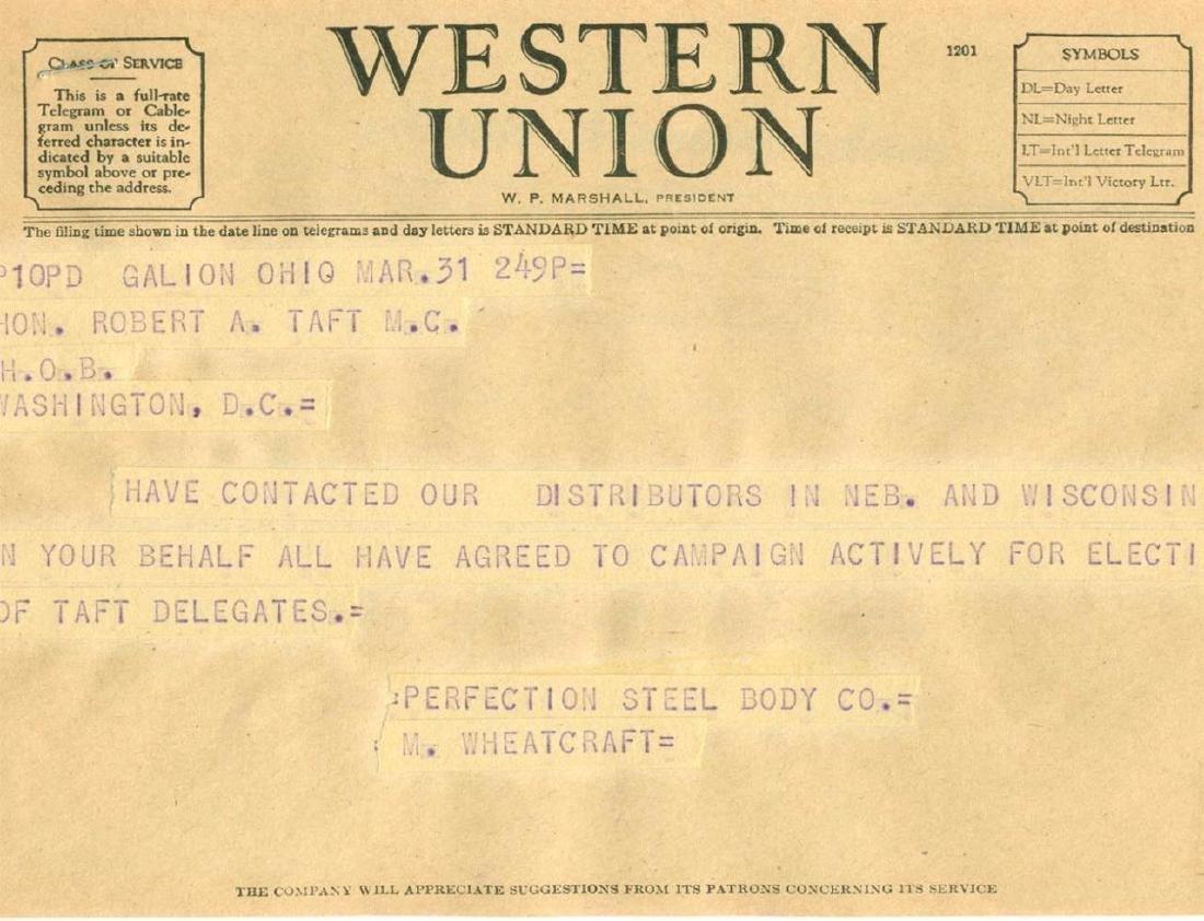 Vintage Election Telegram Robert Taft Campaign Support - 2