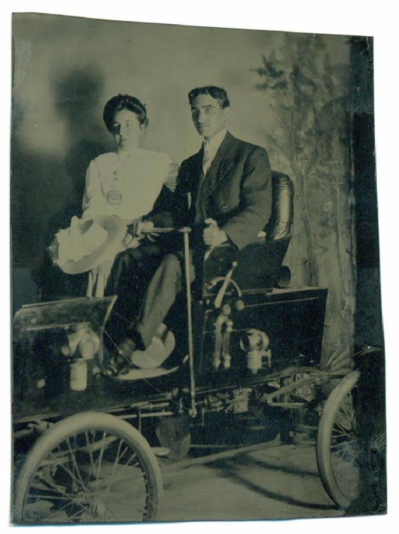 1900 Early Antique Automobile Quadricycle Man & Woman - 2
