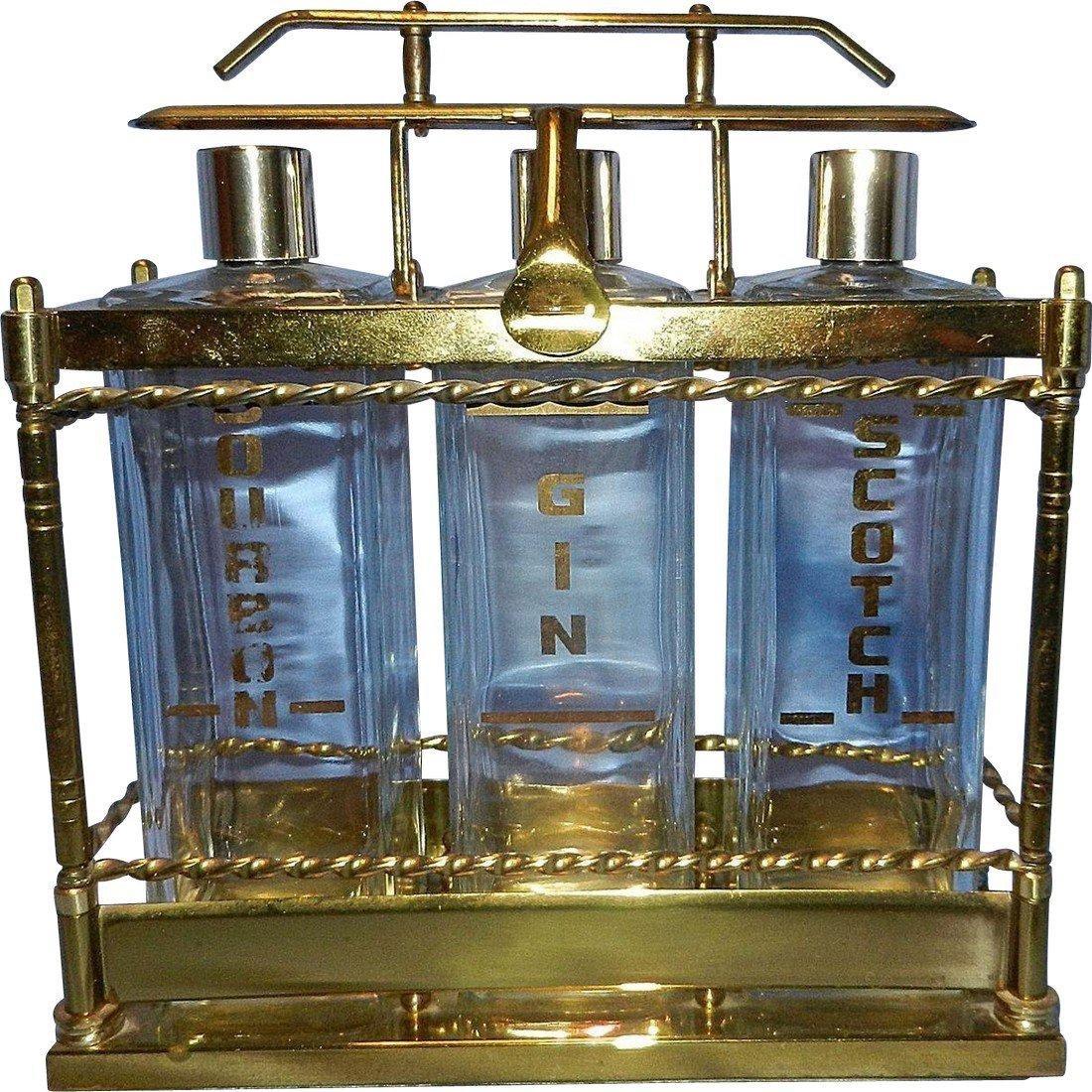 Vintage Mid-Century 3 Bottle Brass Liquor Decanter