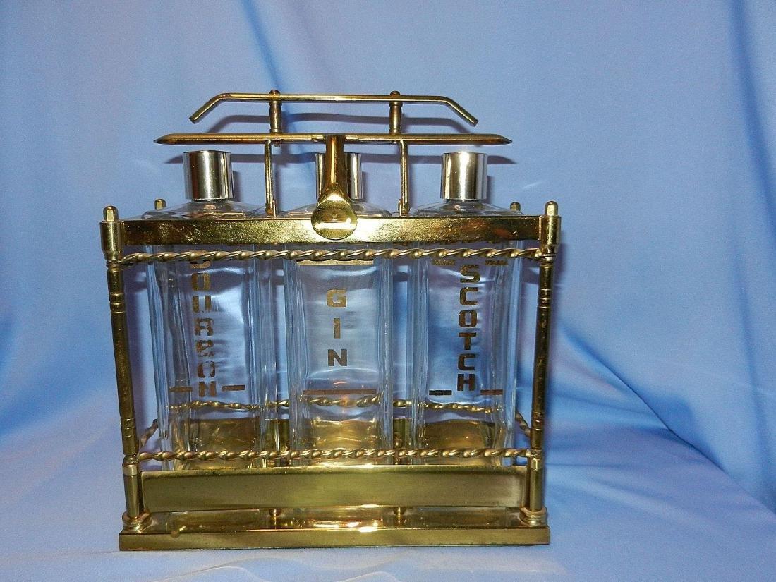 Vintage Mid-Century 3 Bottle Brass Liquor Decanter - 2