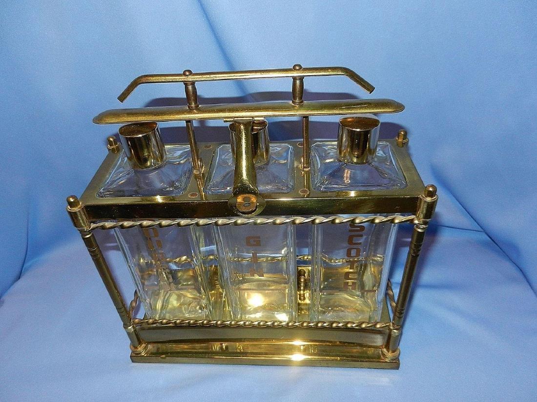 Vintage Mid-Century 3 Bottle Brass Liquor Decanter - 3