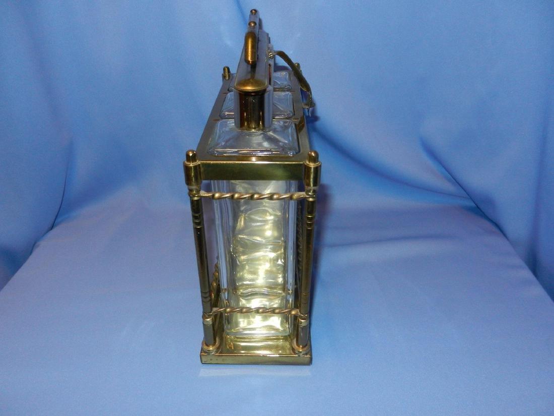 Vintage Mid-Century 3 Bottle Brass Liquor Decanter - 4