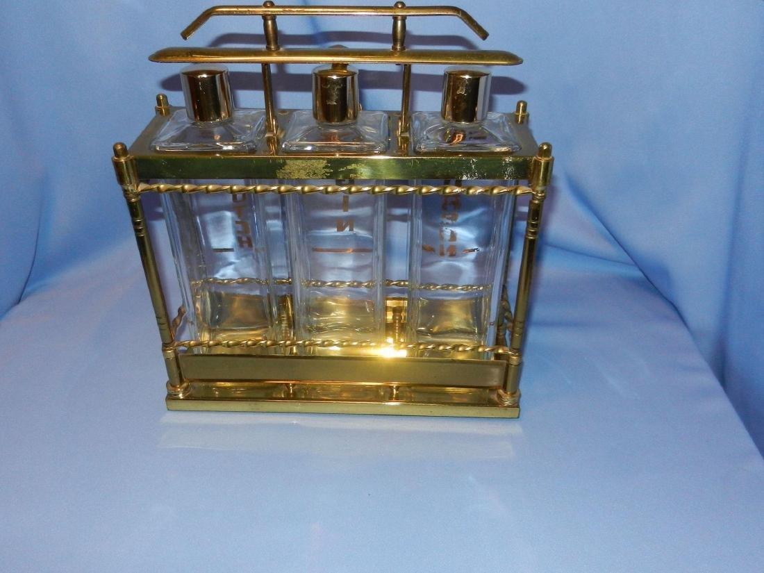 Vintage Mid-Century 3 Bottle Brass Liquor Decanter - 5