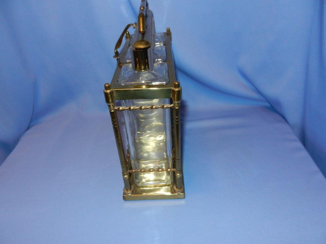 Vintage Mid-Century 3 Bottle Brass Liquor Decanter - 6