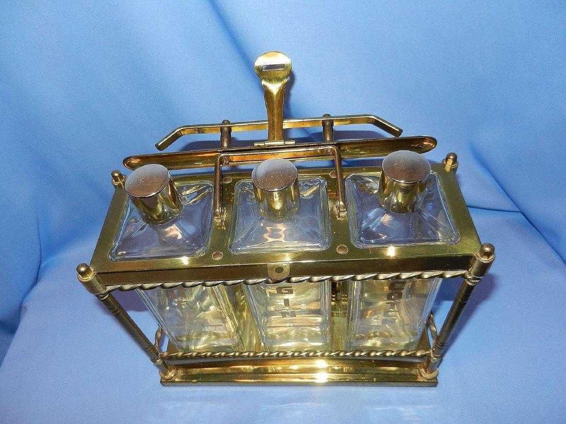 Vintage Mid-Century 3 Bottle Brass Liquor Decanter - 7