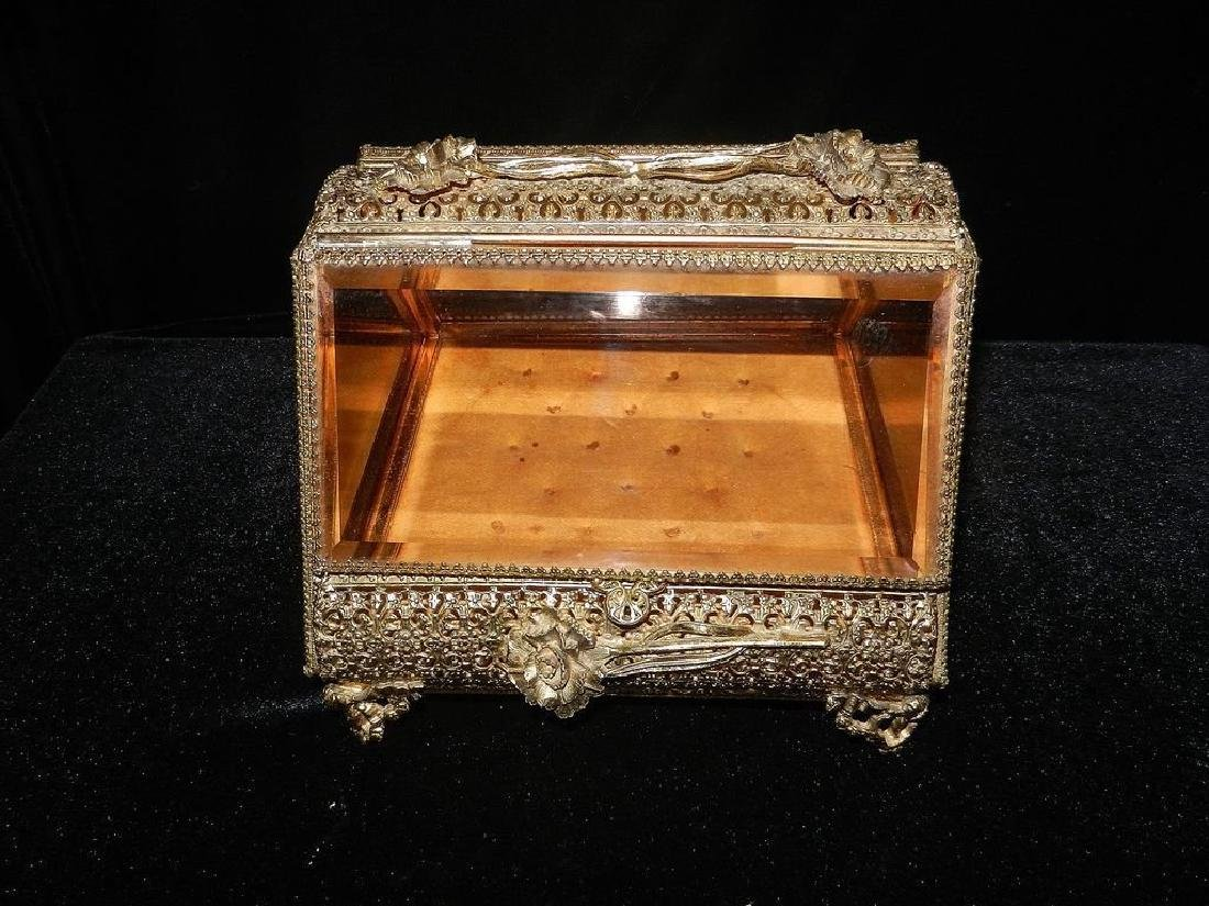 Vintage 24K Gold Filigree Beveled Glass Jewelry Box