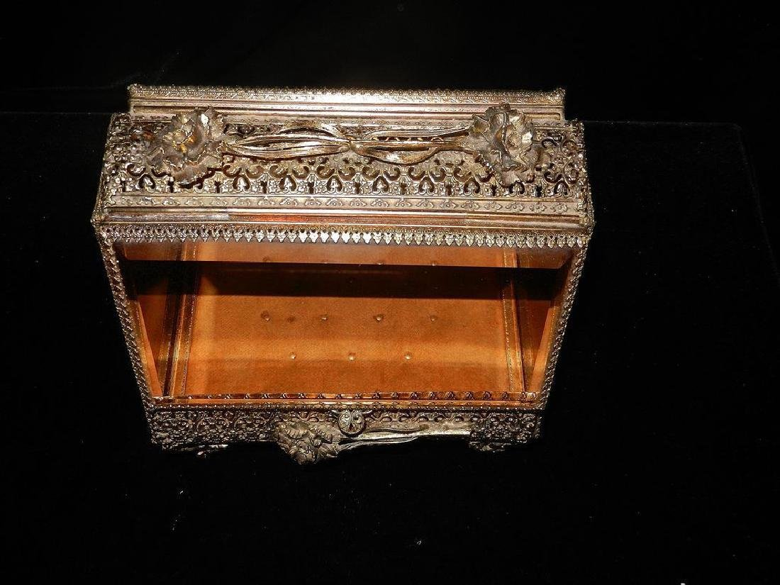 Vintage 24K Gold Filigree Beveled Glass Jewelry Box - 2