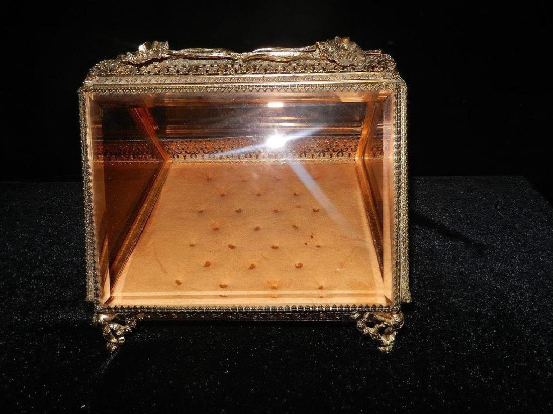 Vintage 24K Gold Filigree Beveled Glass Jewelry Box - 4