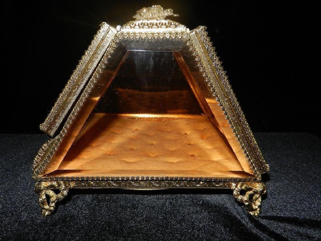 Vintage 24K Gold Filigree Beveled Glass Jewelry Box - 5