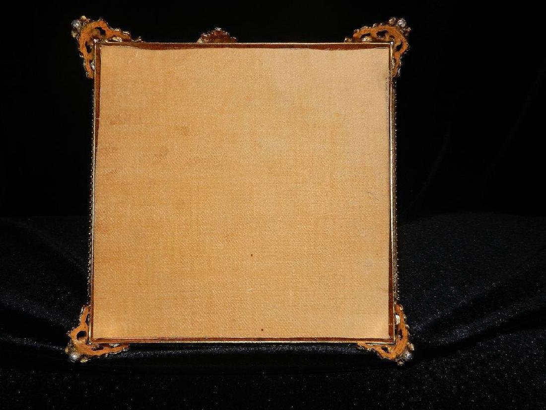 Vintage 24K Gold Filigree Beveled Glass Jewelry Box - 9