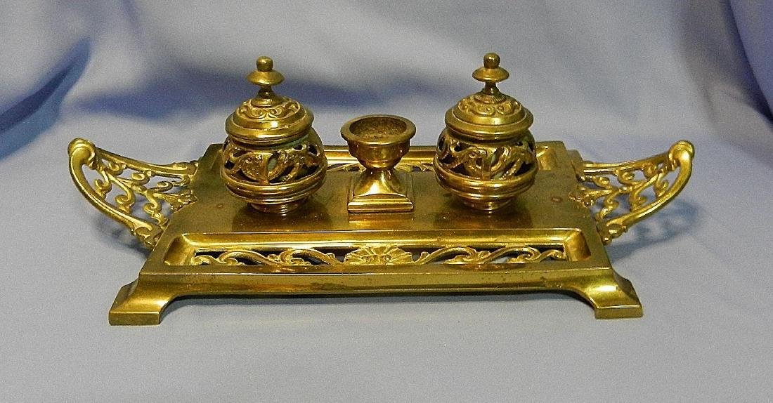 Antique William Tonks & Son Brass Porcelain Inkwell - 2