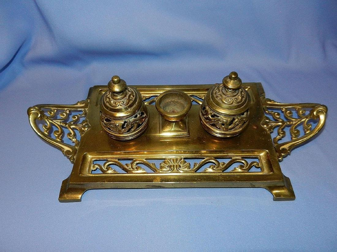 Antique William Tonks & Son Brass Porcelain Inkwell - 3