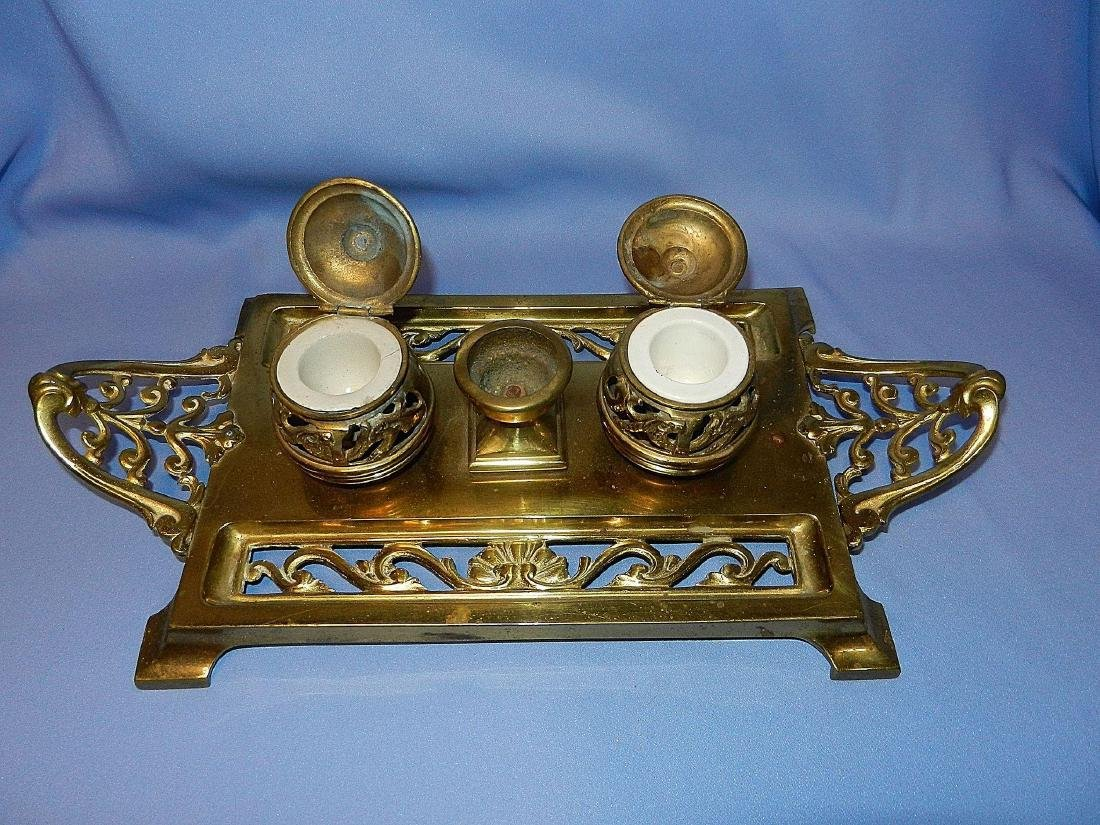 Antique William Tonks & Son Brass Porcelain Inkwell - 4