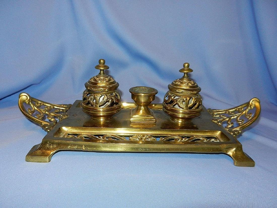 Antique William Tonks & Son Brass Porcelain Inkwell - 9